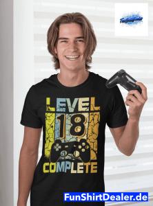 18. geburtstag geschenk sohn level up t shirt