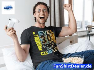 30 geburtstag geschenk mann gamer zocker level up t shirt