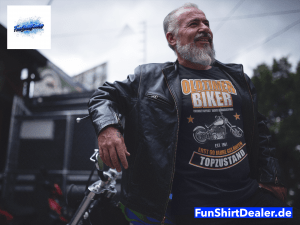tee mockup of a biker guy with a leather jacket posing a12059 1